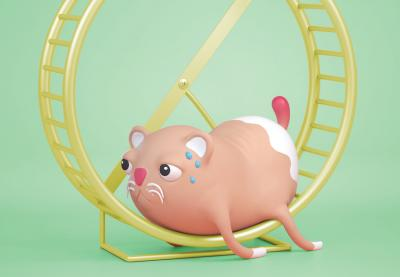 Illustration of a hamster collapsed in its wheel