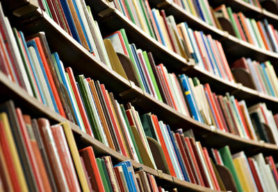 shelves of library books