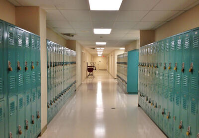empty hallway with lockers