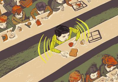 Illustration of a boy sitting alone at a lunch table