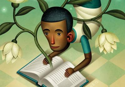 Illustration of a student in a yoga pose while he reads a book