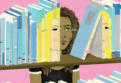 Teaching Tolerance illustration of young female not seeing characters in the books representing people of color