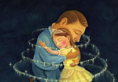 An illustration of a man embracing a girl in an elegant dress and tiara