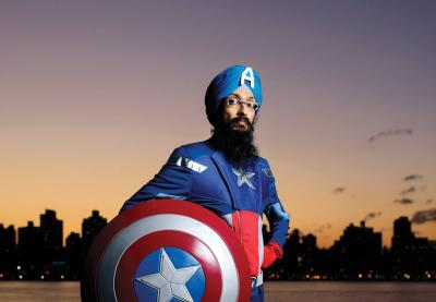 Cartoonist Vishavjit Singh in a Captain America costume