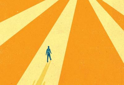 A child walks on daunting path - pathways to adulthood illustration