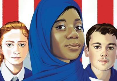 Teaching Tolerance illustration of three multicultural students in front of US flag