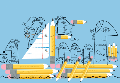people sailing on a pencil ship