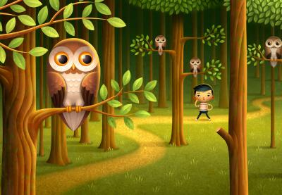 boy lost in the woods with owls