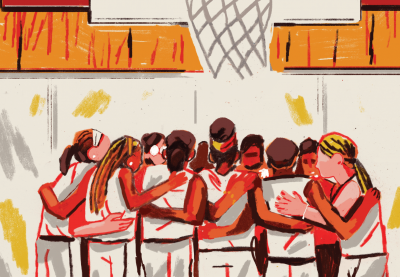 Illustration of a girls' basketball team huddle underneath the basket