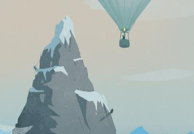 Mountain climbers overshadowed by person in hot air balloon.