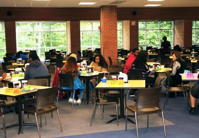 College students sitting together during Mix It Up at Lunch Day.