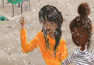 Illustration of two girls writing and looking at math equations together.