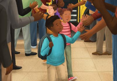 Illustration of students receiving high fives from adults as they disembark their school bus.