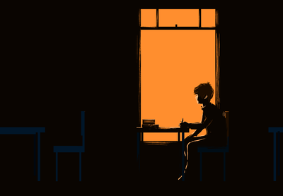 Illustration of a lone young person in the dark looking out a window.