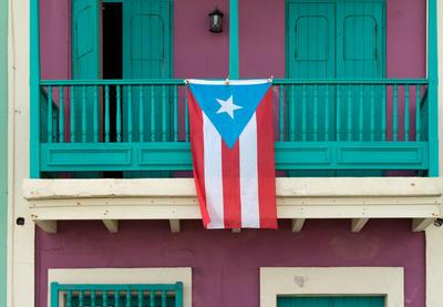 Puerto Rican flag in Old San Juan, Puerto Rico, by Lorie Shaull.