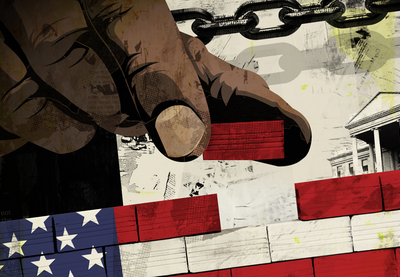 Person of Color's hand placing a brick onto the United States flag, which is made of bricks.
