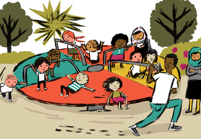 Illustration of a diverse group of students being spun around on a pinwheel on a playground by a teacher of color.