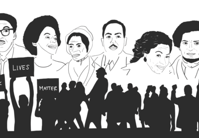 Illustration featuring the likenesses of Bayard Rustin, Angela Davis, Sojourner Truth, Langston Hughes, Toni Morrison, Frederick Douglass and silhouettes of protesters and activists.