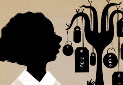 Silhouette-style illustration featuring a young person looking at a fork whose individual prongs are bent under the weight of hanging price tags.