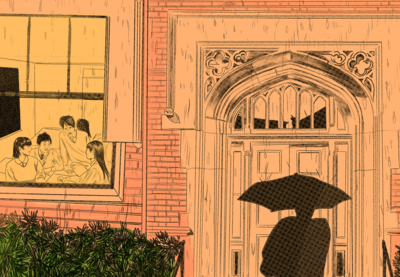 Illustration of someone approaching a school building while holding umbrella.