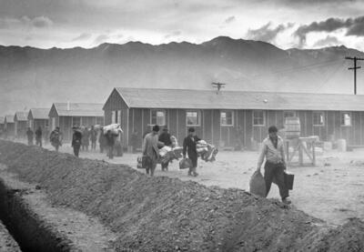 Manzanar concentration camp in Owens Valley, California.
