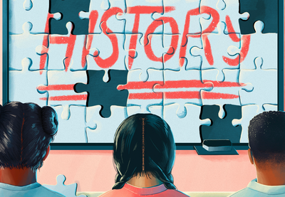 "Illustration of the word ""history"" written on top of puzzle pieces."