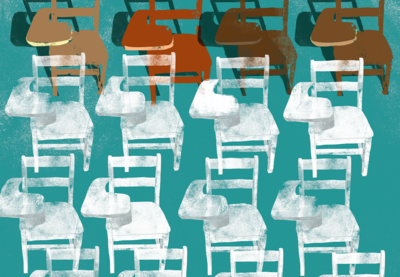 Illustration of different color desk chairs.