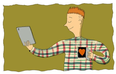 person opening up his heart to engage in online community