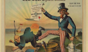 Uncle Sam boots out a group of stereotypically depicted Chinese Americans