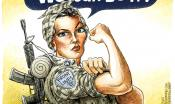 "Invoking the iconic ""We Can Do It"" picture, this cartoon features a woman in combat gear"