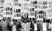 "Sanitation workers hold protest signs that say, ""I am a man."""
