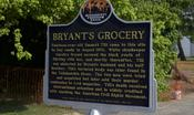 A historical marker at Bryant's Grocery in Money, Mississippi, where Emmett Till was falsely accused of flirting with a white woman.