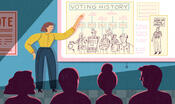 "Illustration of a teacher figure pointing to a slide featured on a pulled down screen that is titled ""Voting History."" Several shadowed figures sit in the foreground, looking at the displayed information."