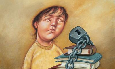 Teaching Tolerance illustration  of a kid looking at a pile of book with a chain around them