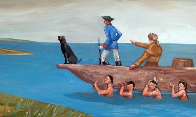 Teaching Tolerance illustration with Lewis & Clark's canoe carried by native americans
