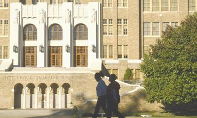 Students walking in front of the Little Rock Central High School