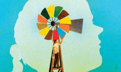 Illustration of a colorful windmill in a child's head