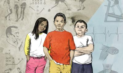 Teaching Tolerance Illustration of three children standing together.