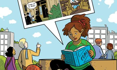 Illustration of student reading graphic novel about social justice