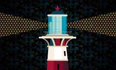 Illustration of a lighthouse shining a light made up of hashtag symbols.