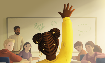 Illustration of a student of color raising their hand in class while other students look on.