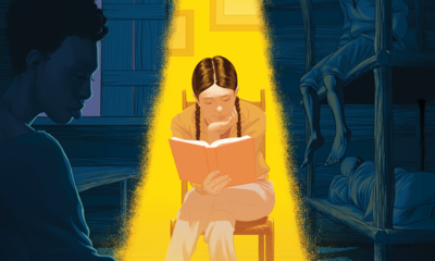 Illustration of a young person reading under a yellow light while surrounded by a scene from the book they are reading.