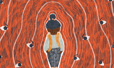 Illustration of young child surrounded by angry eyes.