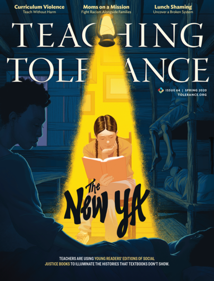 Cover of Teaching Tolerance magazine, issue 64, Spring 2020. Features an illustration of a young person reading while being illuminated by a yellow light, all the while surrounded by a scene from the book they're reading.
