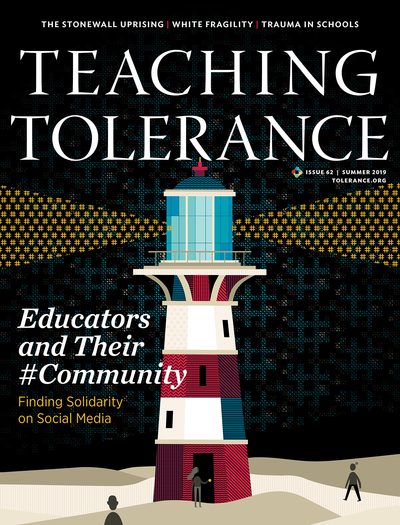 Cover of the Summer 2019 Issue of 'Teaching Tolerance' Magazine, featuring an illustrated lighthouse whose lights are comprised of hashtag symbols.