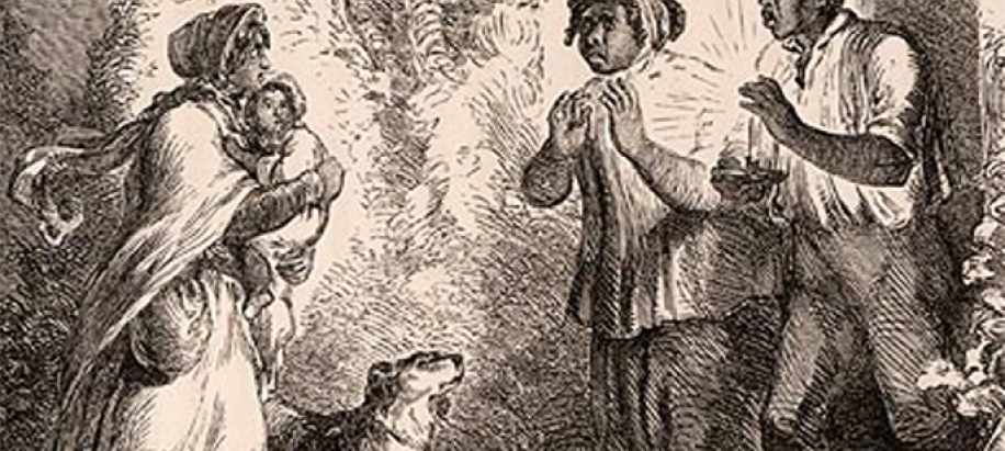 illustration from the book Uncle Tom's Cabin — Eliza, holding her baby, comes to tell Uncle Tom he is sold