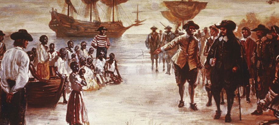 Engraving showing the arrival of a Dutch slave ship with a group of African slaves for sale, Jamestown, Virginia, 1619