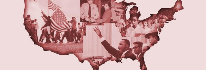 US Map with Civil Rights Images
