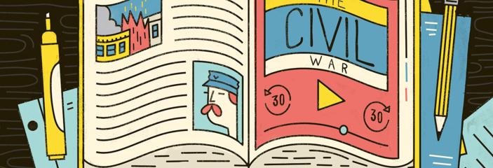Illustration of an open book where one of the pages is set up in the style of a podcast episode player.