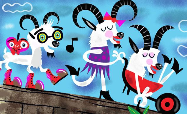 Three whimsical looking billy goats are walking across a bridge. One is singing, one is riding in a wheelbarrow, and the other is walking and smiling.